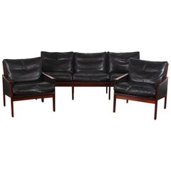Danish Modern Three-Piece Sofa and Pair of Armchairs by Illum Wikkelso