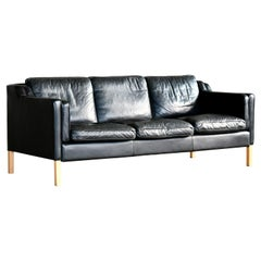 Danish Modern Three-Seat Sofa in Black Leather by Stouby in Børge Mogensen Style