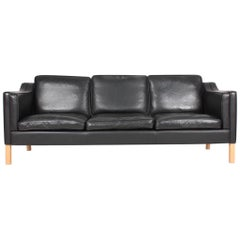 Danish Modern Three-Seat Sofa in Patinated Leather, 1980s