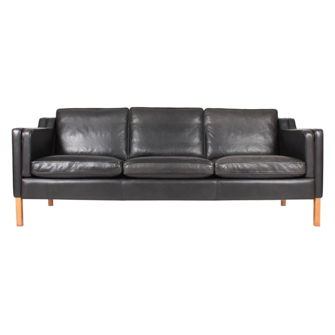 Danish Modern Three-Seat Sofa in Patinated Leather by Stouby, 1980s