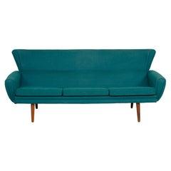 Danish Modern Three Seat Sofa in Teal Wool