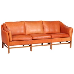 Danish Modern Three-Seat Sofa by Grant Furniture with Cognac-Colored Leather