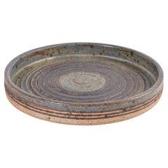 Danish Modern Tue Poulsen Large Rustic Ceramic Low Bowl with Stripe Decor, 1970s