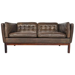 Danish Modern Tufted Loveseat in Brown Leather