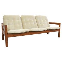 Danish Modern Tufted Teak 3-Seat Sofa by Domino Mobler