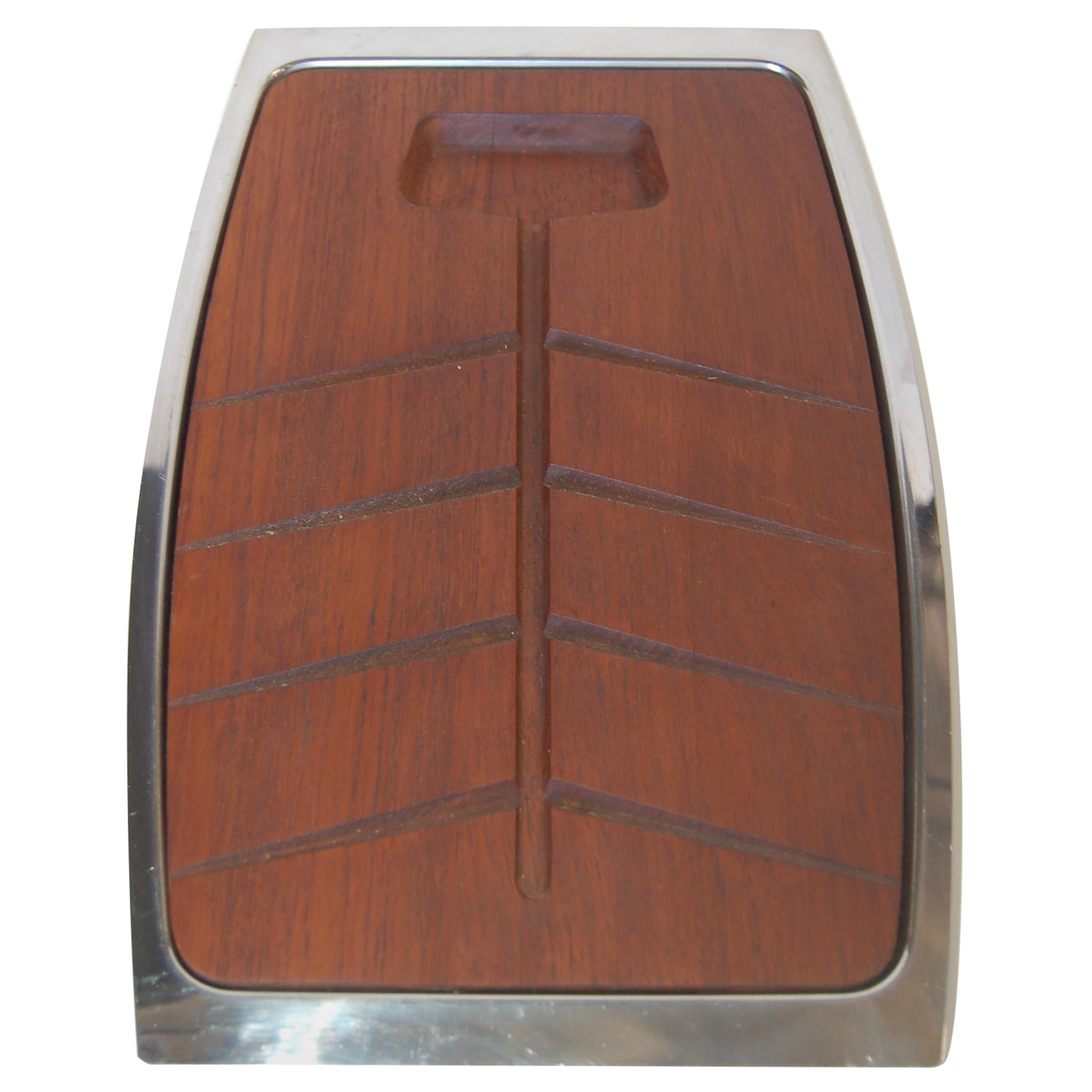 Danish Modern Two-Piece Teak Cutting Board with Stainless Steel Tray
