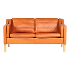 Danish Modern Two-Seat Sofa with Cognac-Colored Patina Leather Made in Denmark