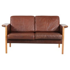 Danish Modern Two-Seat Sofa with Dark Cognac-Colored Leather Made in Denmark