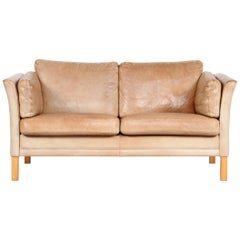 Danish Modern Two-Seat Sofa with Cognac-Colored Patina Leather Made in Danmark