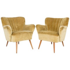 Danish Modern Upholstered Armchairs, Set of Two