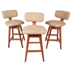 Danish Modern Upholstered Swivel Stools by Vampdrup Stolefabrik, Set of 3