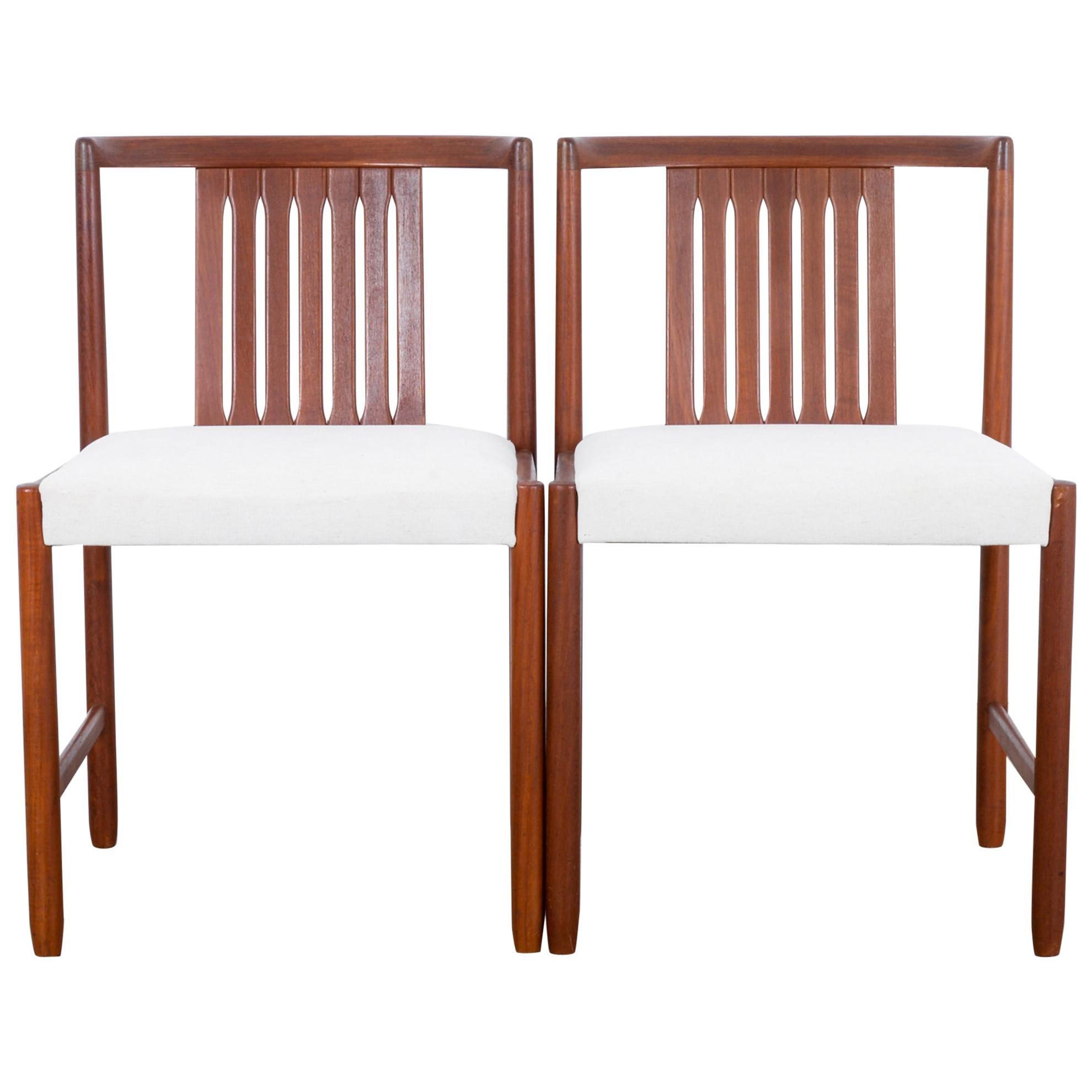 Danish Modern Upholstered Teak Side Chairs, a Pair