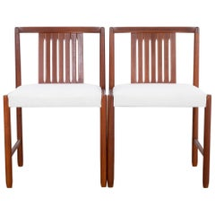 Danish Modern Upholstered Teak Side Chairs, a Pair