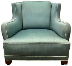 Danish Modern Upholstered Wool Aquamarine Blue Lounge Chair