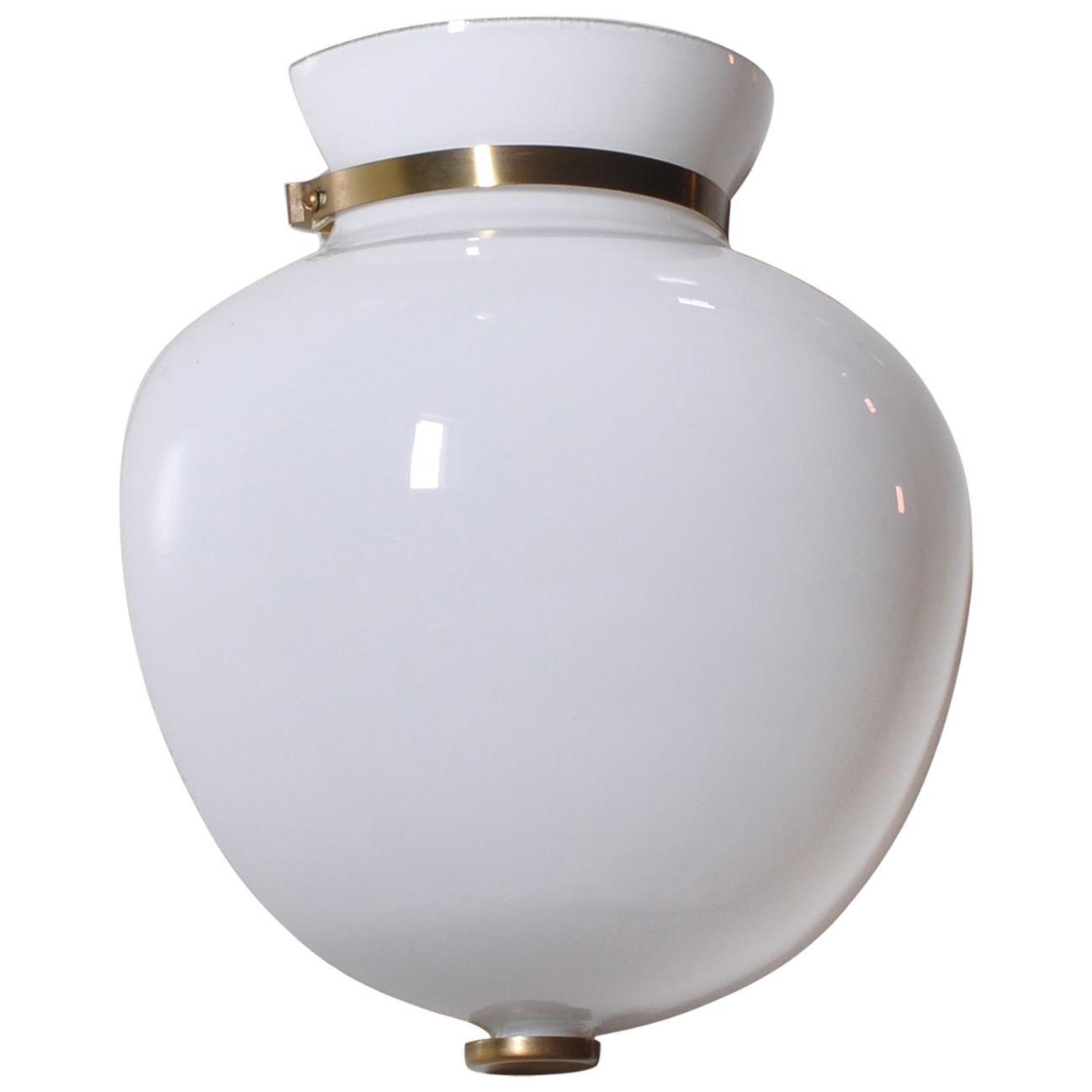 "Danish Modern Vilhelm Lauritzen Wall Sconce ""Half Vase"" in Opal Glass and Brass"