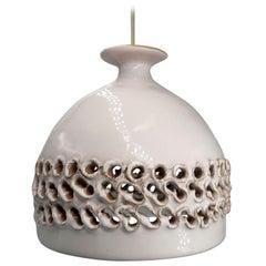 Danish Modern Vintage Cream White Ceramic Handmade Pendant, 1970s