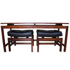 Danish Modern Vintage Ottoman and Console Set in Walnut Attributed to Jens Risom