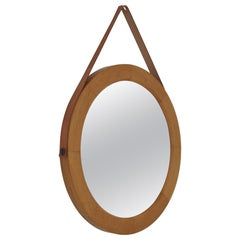 Danish Modern Vintage Oval Mirror in Oak with Leather Strap, 1967