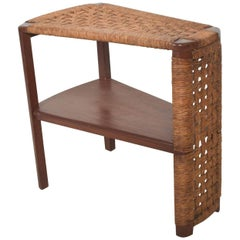Danish Modern Vintage Side Wedge Table in Mahogany Wood Woven Rope Cord