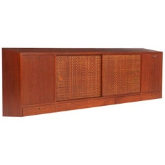 Danish Modern Wall Mounted Floating Basket Weave Credenza for Illums Bolighus