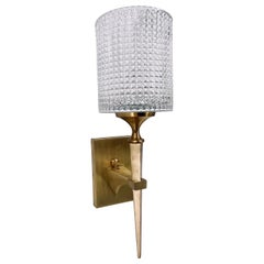 Danish Modern Wall Sconce by Carl Fagerlund for Orrefors Brass & Crystal