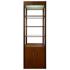 Danish Modern Walnut Cabinet with Glass Shelves and Lighting, circa 1960