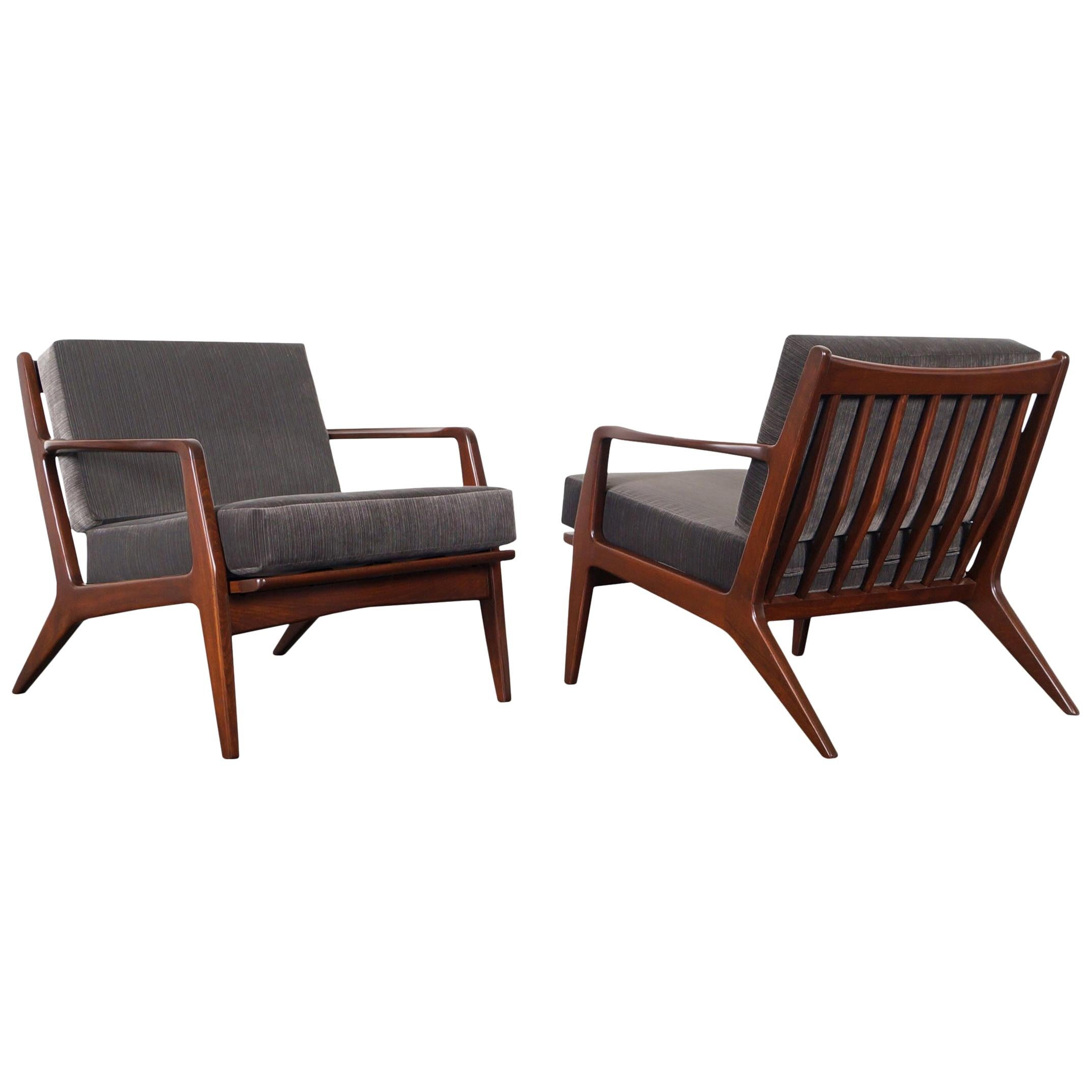 Danish Modern Walnut Lounge Chairs by Ib Kofod-Larsen