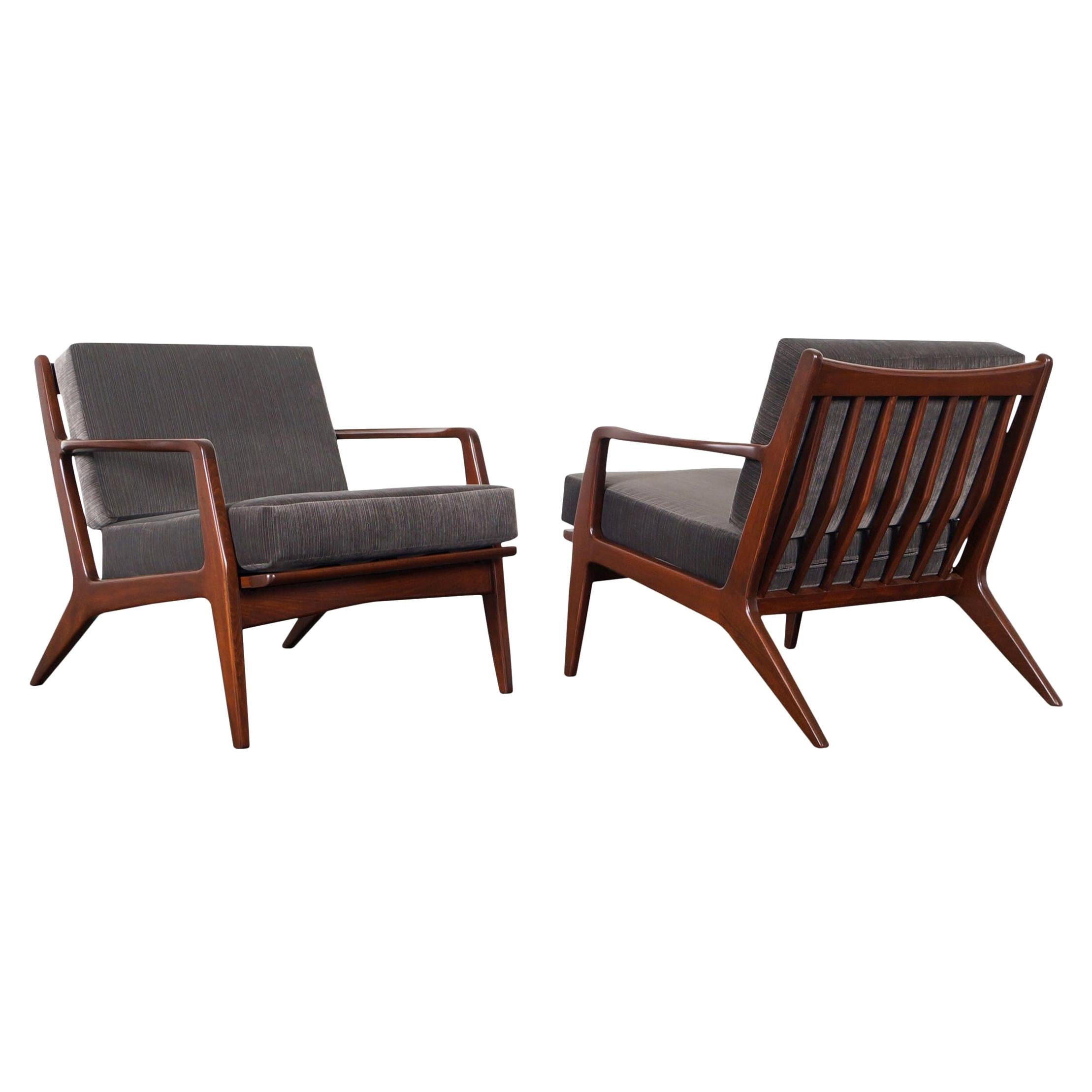 Danish Modern Walnut Lounge Chairs by Ib Kofod-Larsen
