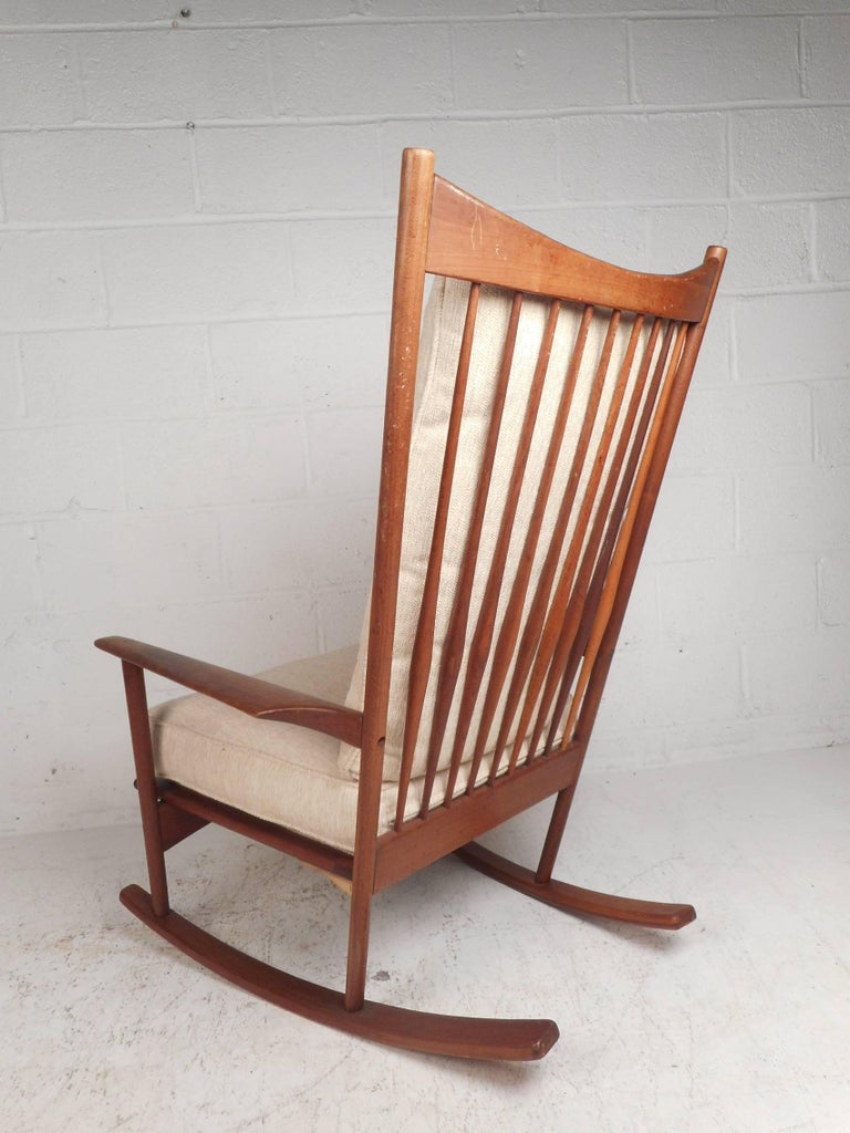 Danish Modern Walnut Rocking Chair By Selig For Sale At