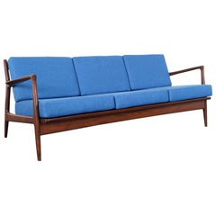 Danish Modern Walnut Sofa by Ib Kofod-Larsen