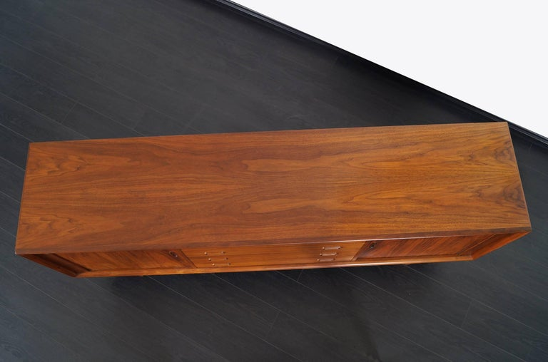 Danish Modern Walnut Tambour Door Credenza by Bernhard Pedersen & Son For Sale 1