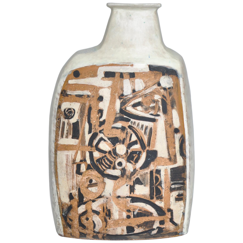 Danish Modern White Ceramics Floor Vase by Hagedorn-Olsen, Own Studio, 1961