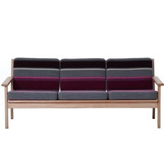 Danish Modern White Oak Sofa with Stripes