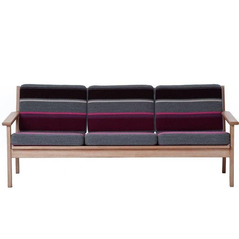 Danish Modern White Oak Sofa with Stripes