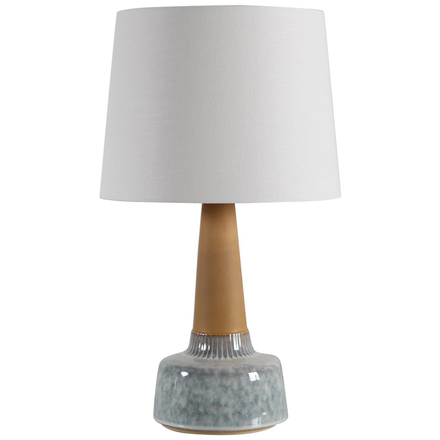 Danish Modern Pale Blue Søholm Stoneware Table Lamp Designed by Einar Johansen