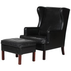 Danish Modern Wing Chair and Stool with Black Leather in Kaare Klint Style