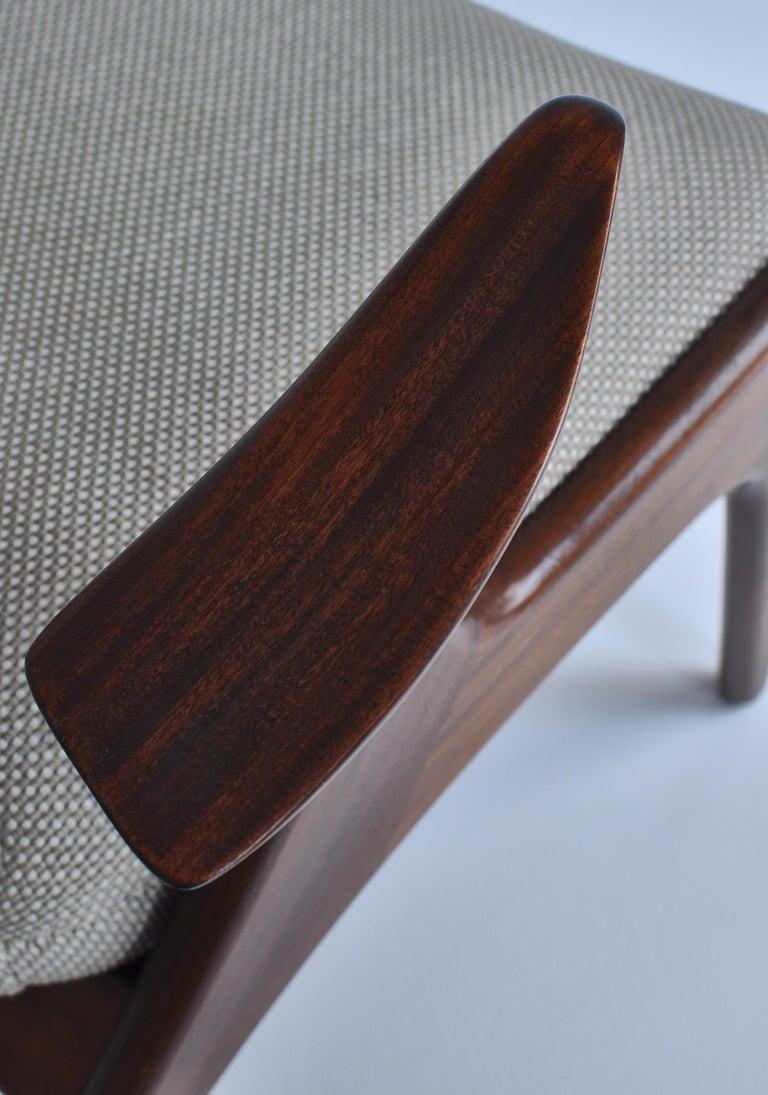 Danish Modern Wing Chair in Teakwood by Kurt Østervig, 1950s For Sale 6