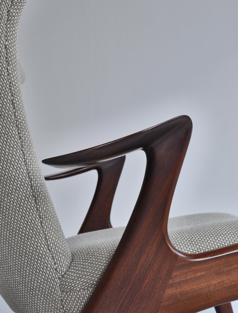 Danish Modern Wing Chair in Teakwood by Kurt Østervig, 1950s For Sale 7