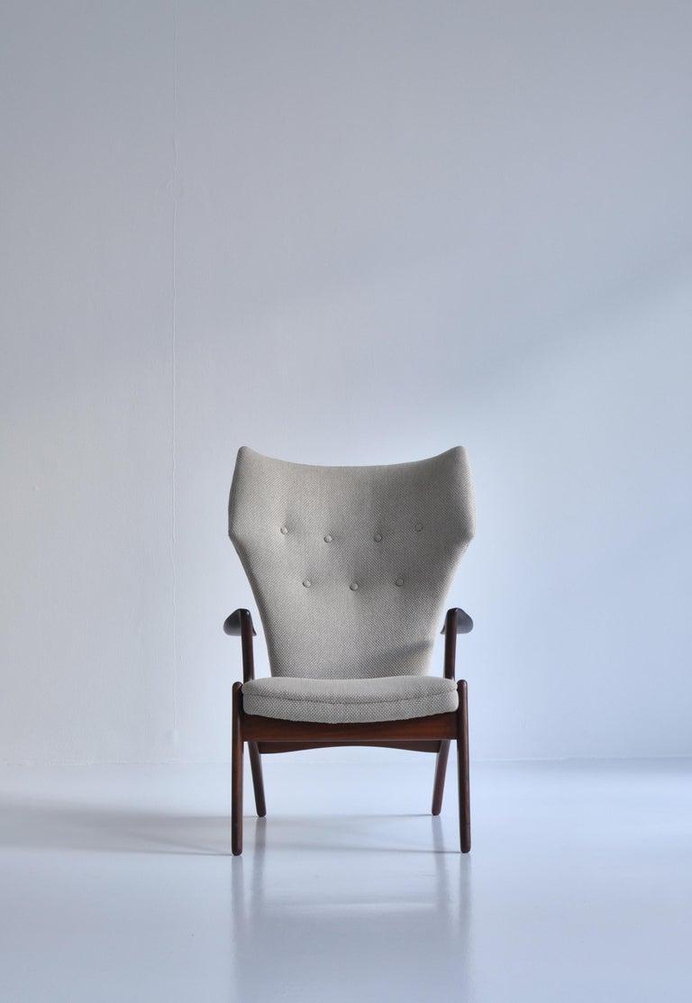 Danish Modern Wing Chair in Teakwood by Kurt Østervig, 1950s For Sale 8