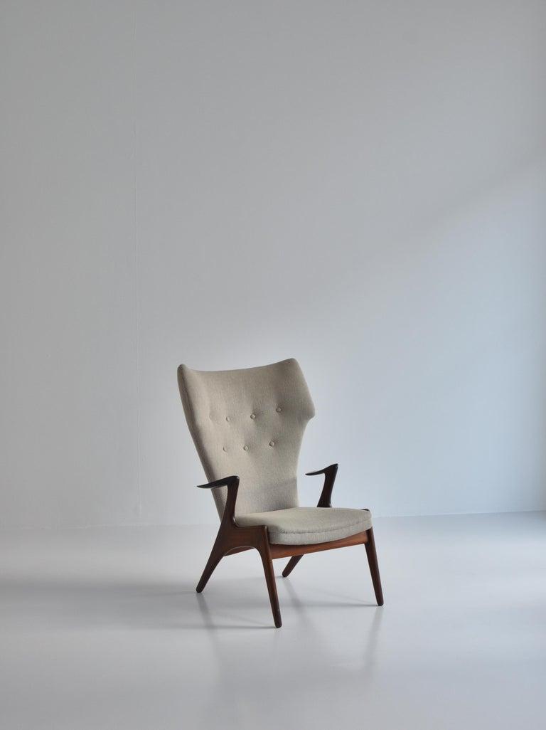 Scandinavian Modern Danish Modern Wing Chair in Teakwood by Kurt Østervig, 1950s For Sale