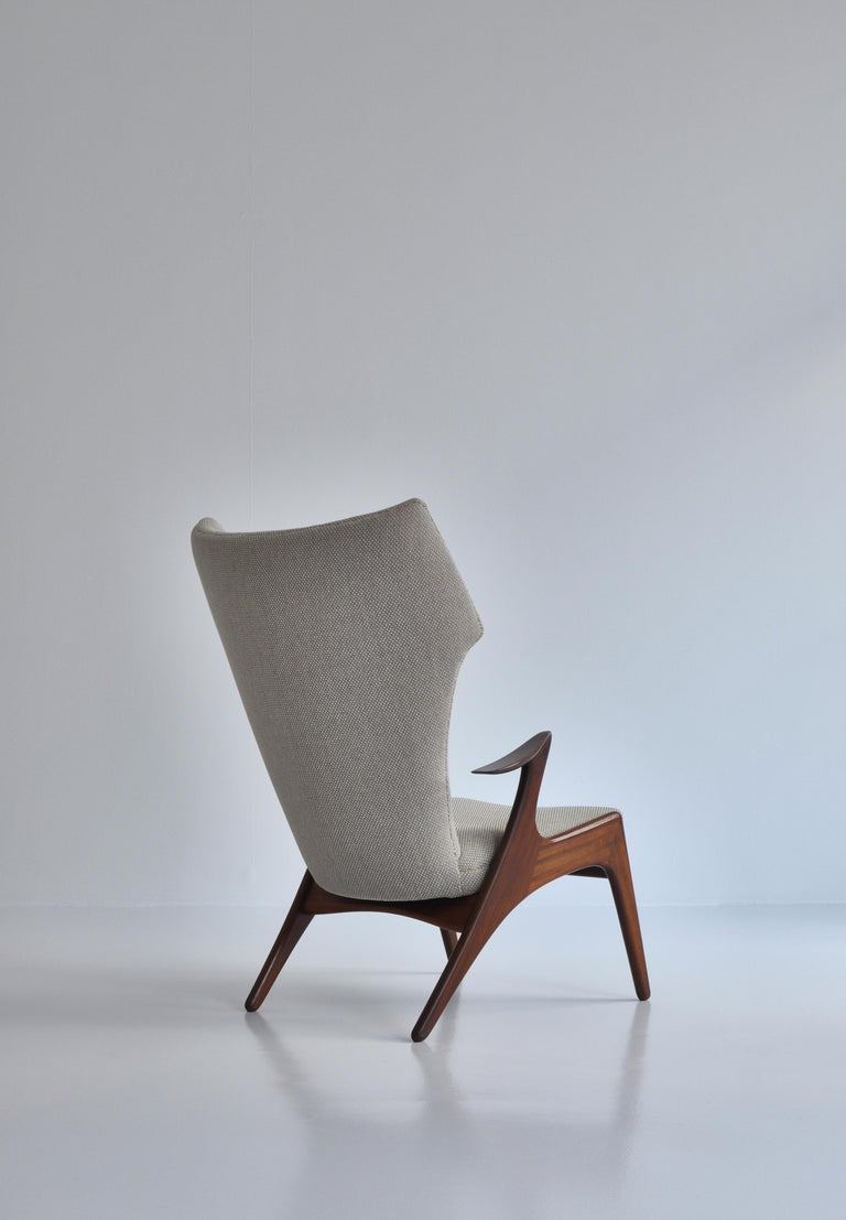 Mid-20th Century Danish Modern Wing Chair in Teakwood by Kurt Østervig, 1950s For Sale