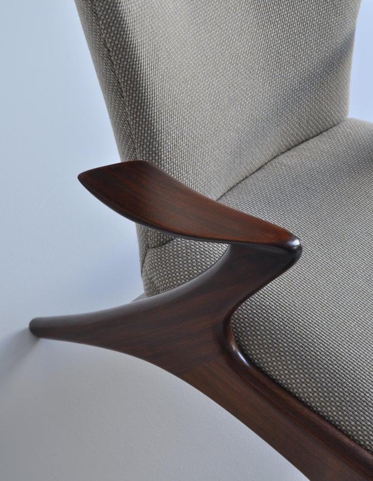 Wool Danish Modern Wing Chair in Teakwood by Kurt Østervig, 1950s For Sale