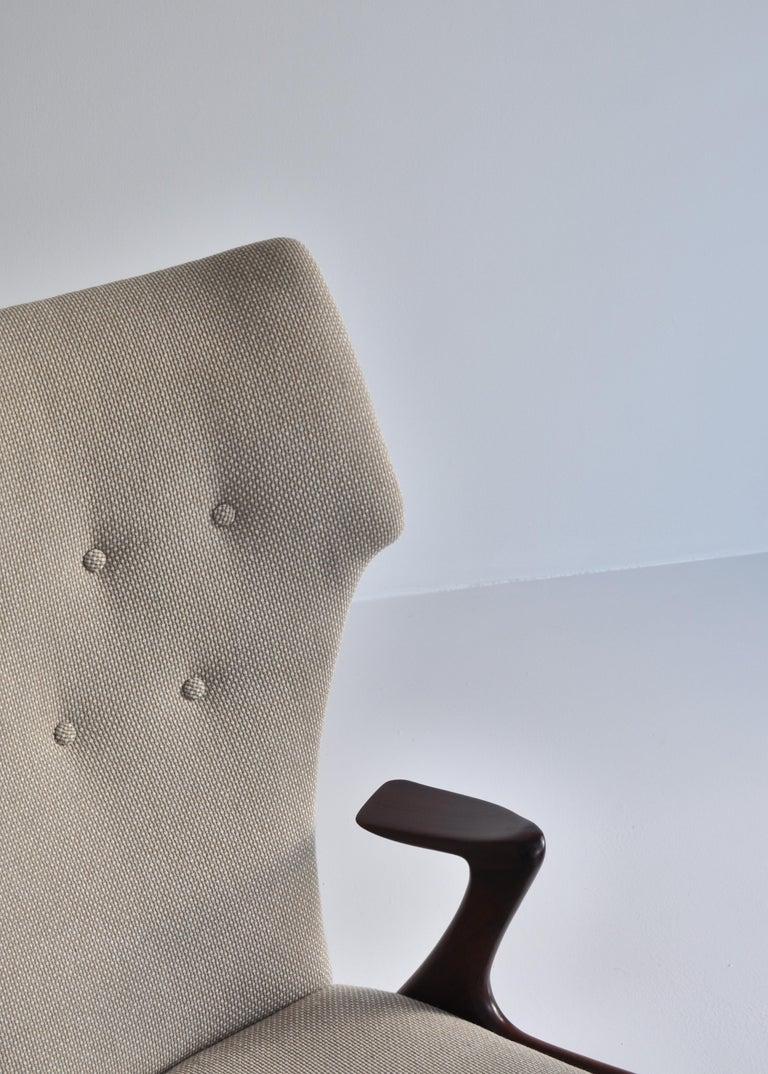 Danish Modern Wing Chair in Teakwood by Kurt Østervig, 1950s For Sale 1