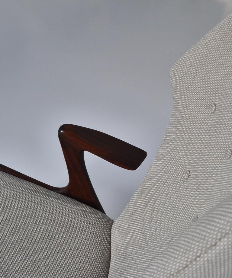 Danish Modern Wing Chair in Teakwood by Kurt Østervig, 1950s For Sale 3