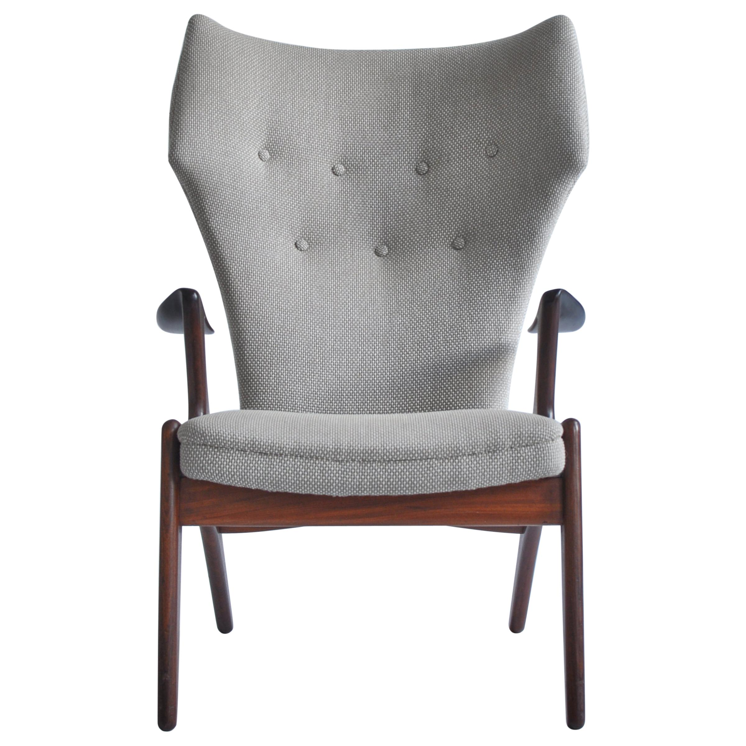 Danish Modern Wing Chair in Teakwood by Kurt Østervig, 1950s