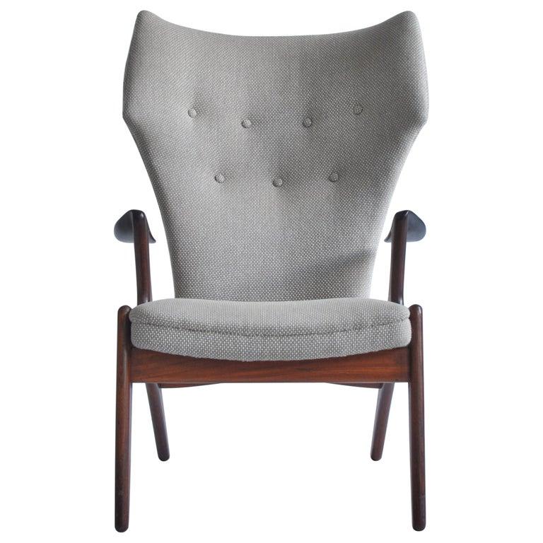 Danish Modern Wing Chair in Teakwood by Kurt Østervig, 1950s For Sale