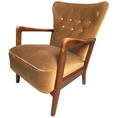 Danish Modern Wingback Chair by Fritz Hansen