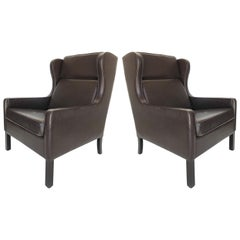 Danish Modern Wingback Chairs, Leather/Rosewood Attributed to Borge Mogensen