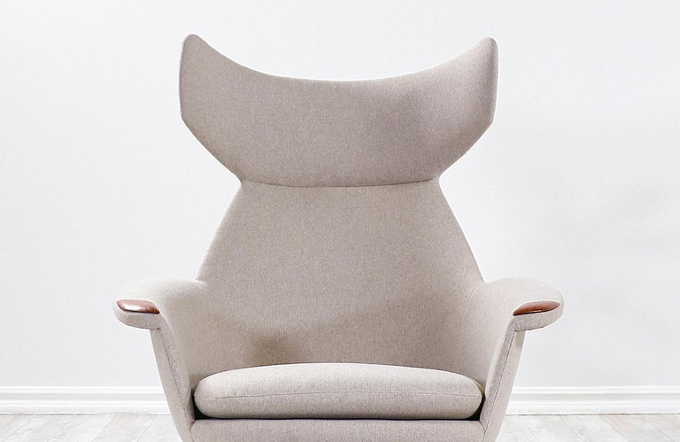 Danish Modern Wingback Lounge Chair with Teak Accent Paws For Sale 2