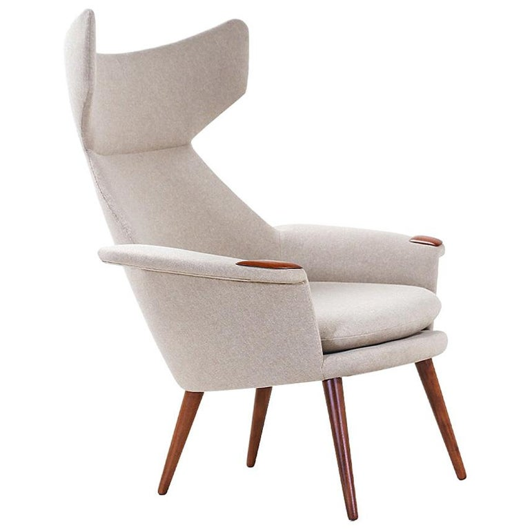 Danish Modern Wingback Lounge Chair with Teak Accent Paws For Sale